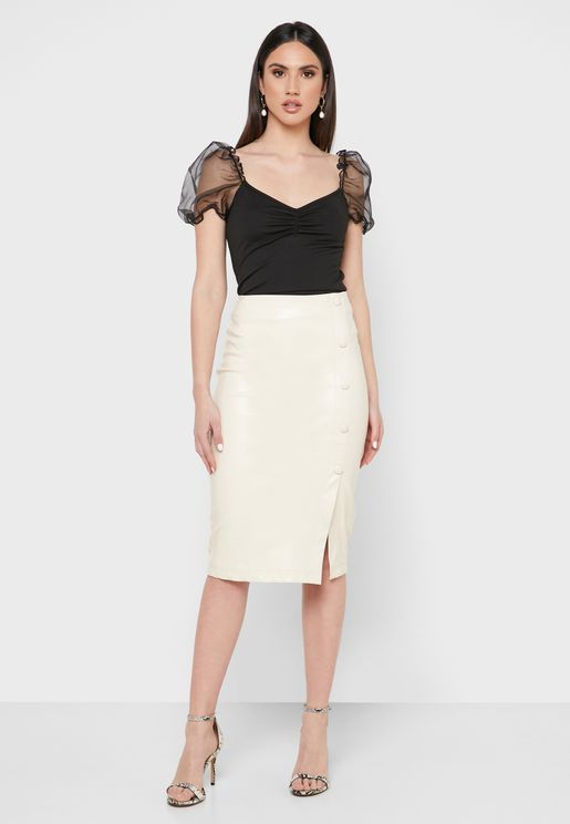 Button Front Bodycon Skirt