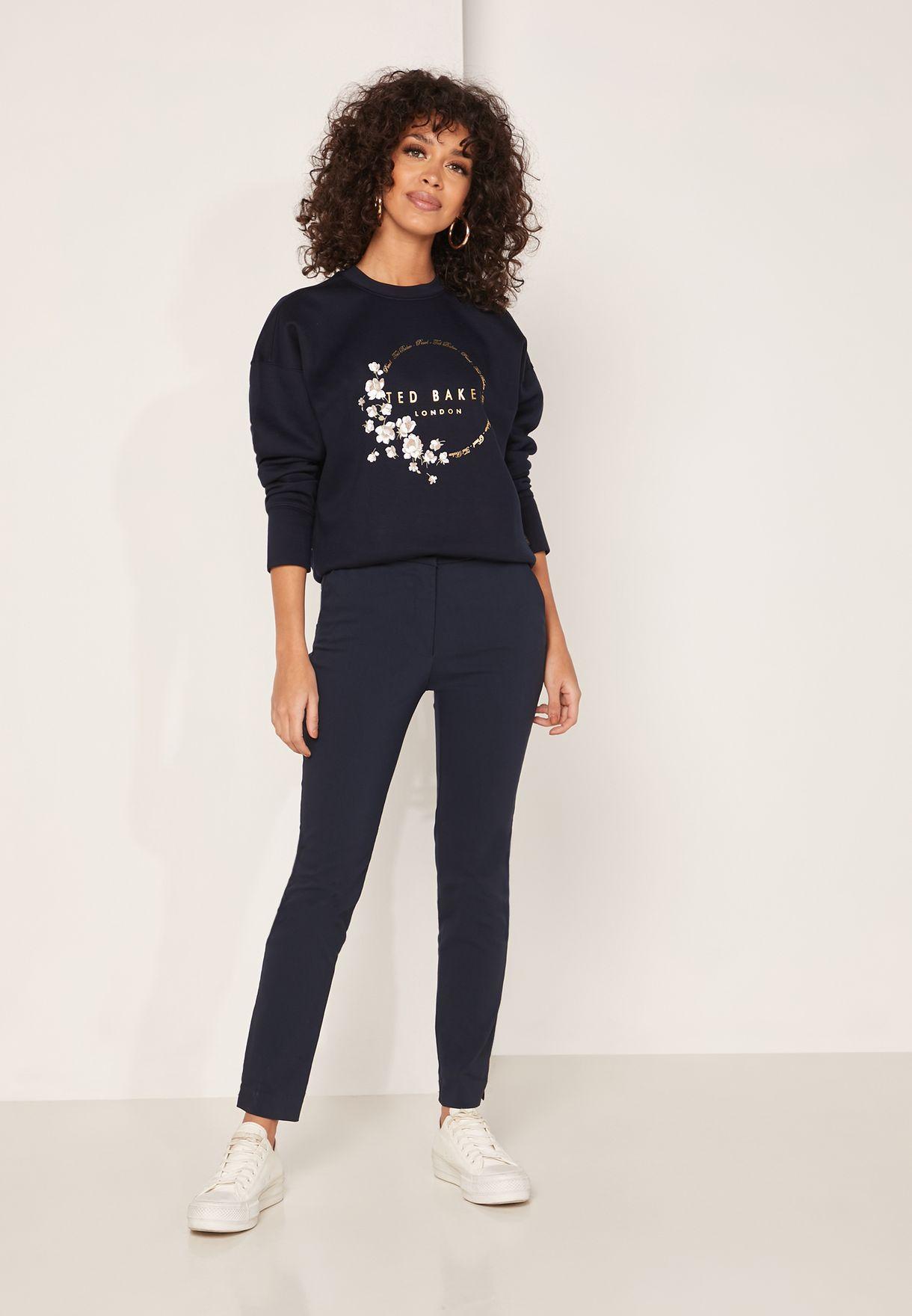 Yoynia High Low Pearl Print Sweatshirt