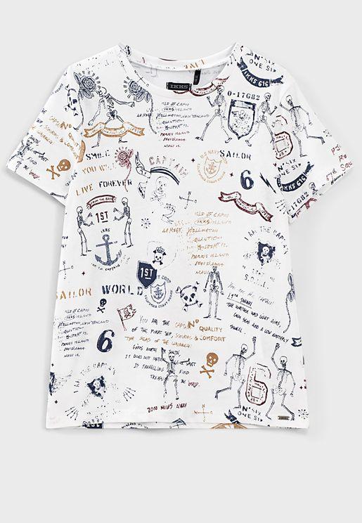 Kids Tattoo Print T-Shirt