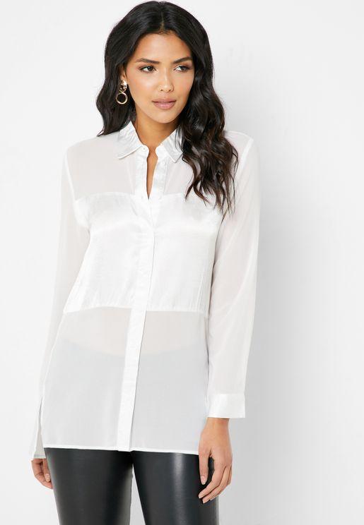 Oversized Satin Paneled Shirt