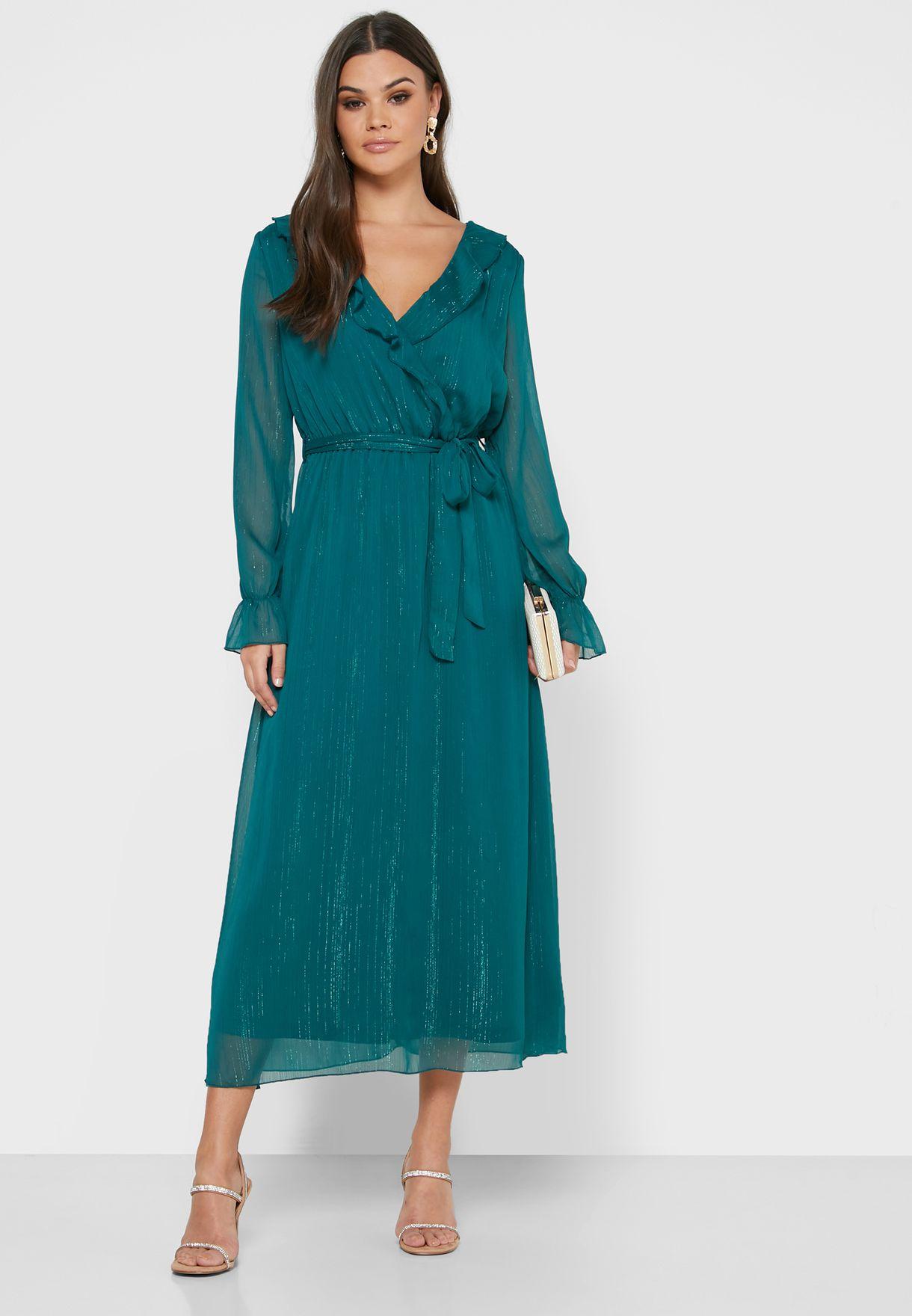 Frill Sleeve Chiffon Dress