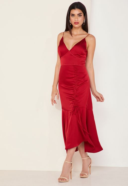 Valentina Ruched Satin Dress