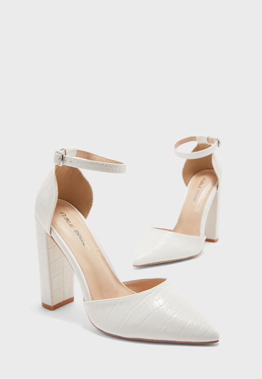 Sofia Ankle Strap Block Heel Pump