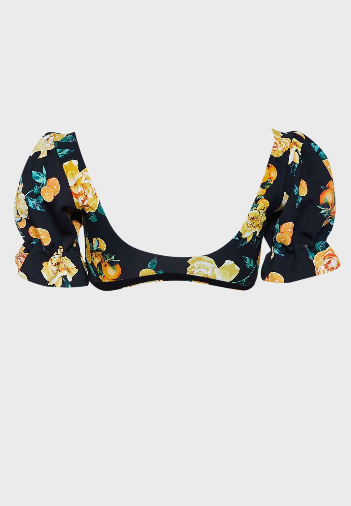 Floral Knot Puff Sleeve Bikini Top