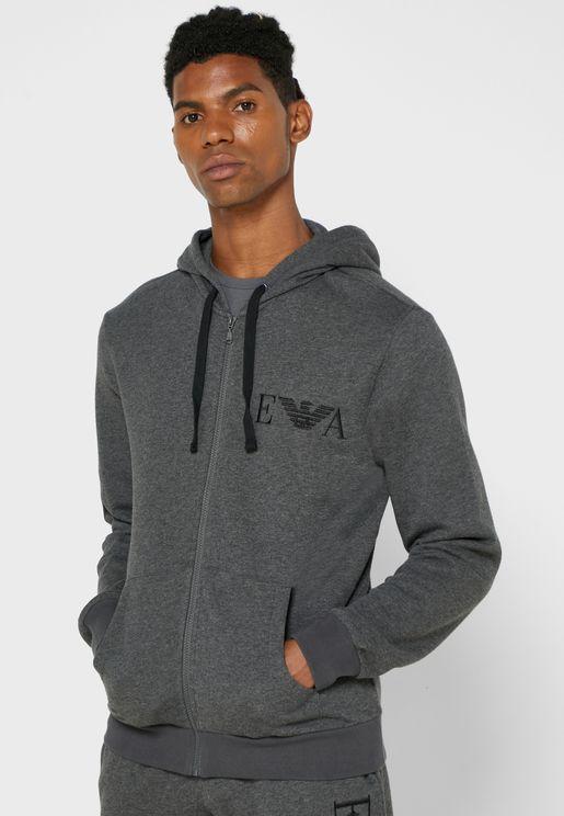Logo Zip Through Hoodie