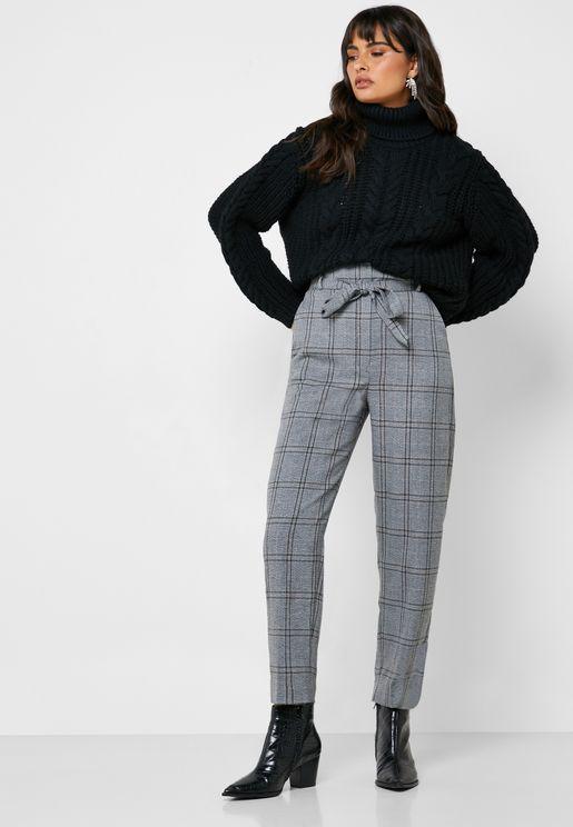 Tie Waist Checked Pants
