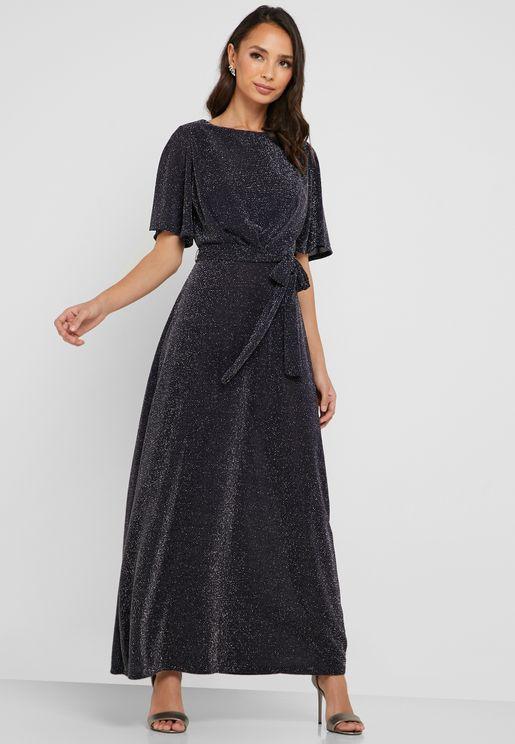 Tie Waist Foil Dress
