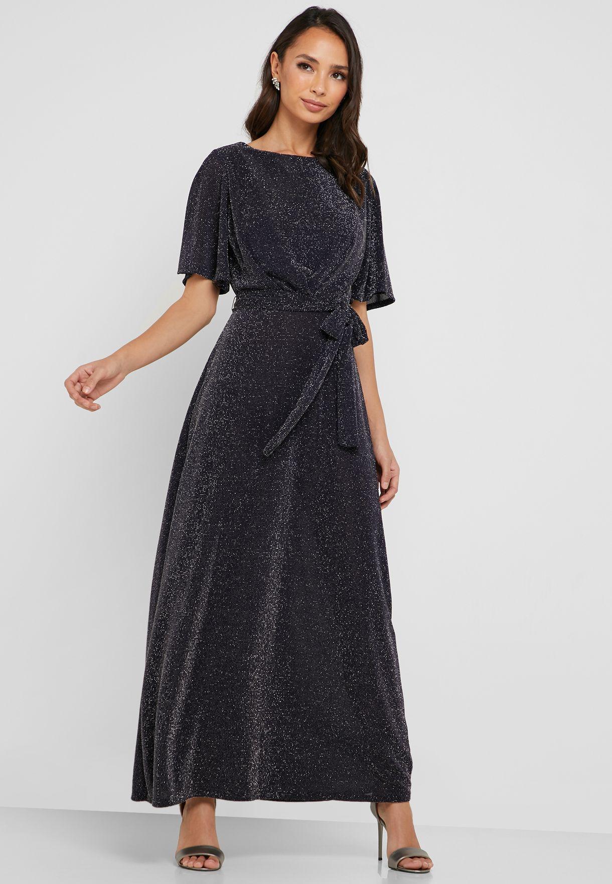 60e8783f72efb Shop Wallis Petite black Tie Waist Foil Dress 096783022 for Women in ...