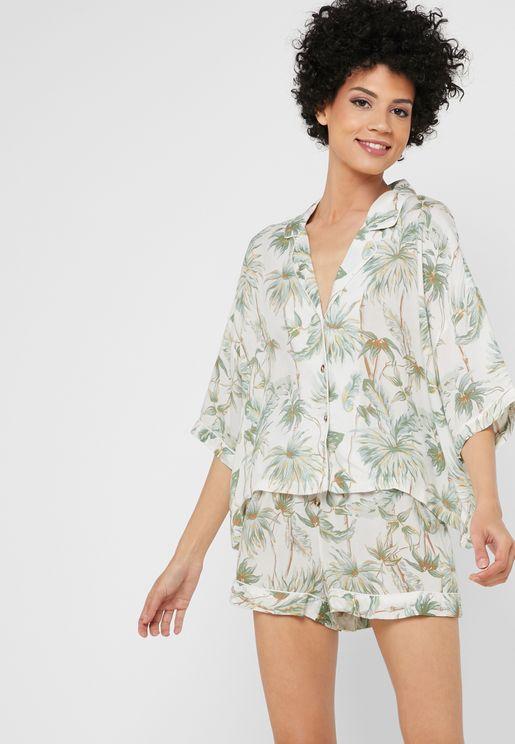 Palm Print Pyjama Shirt