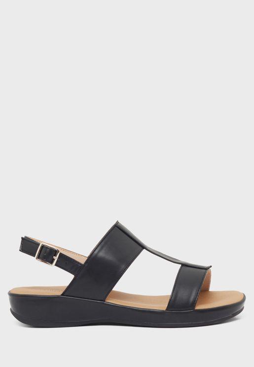 Slingback Mid Heel Wedge Sandal