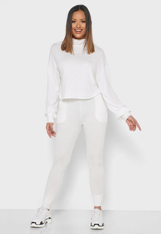 HIgh Neck Sweater Pants Set