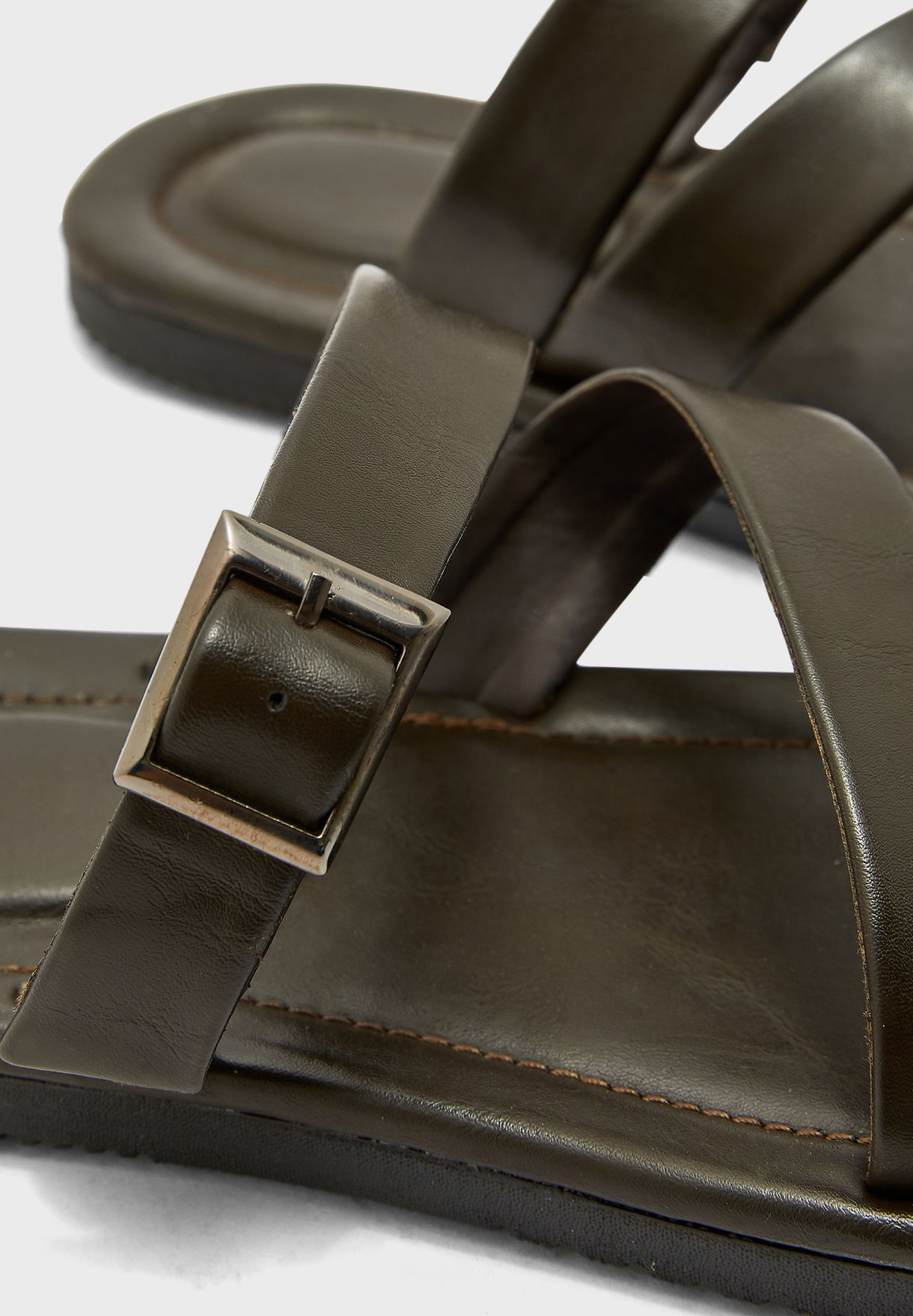 Faux Leather Casual Sandals