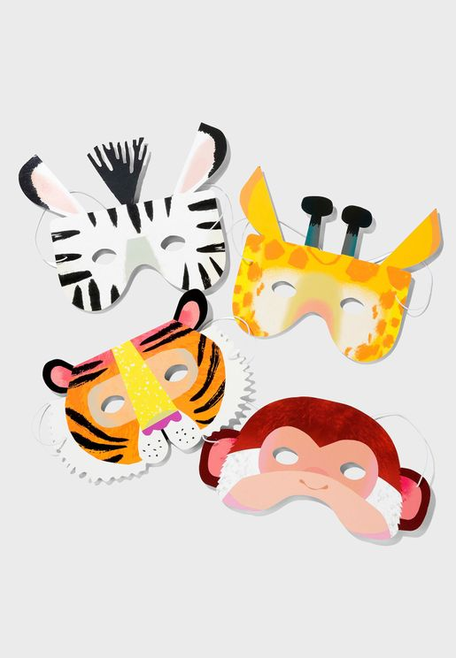 Party Animal Paper Masks 8 Pack