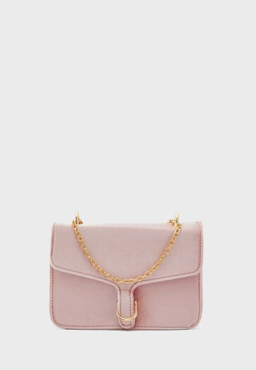 Faux Suede Chain Strap Bag