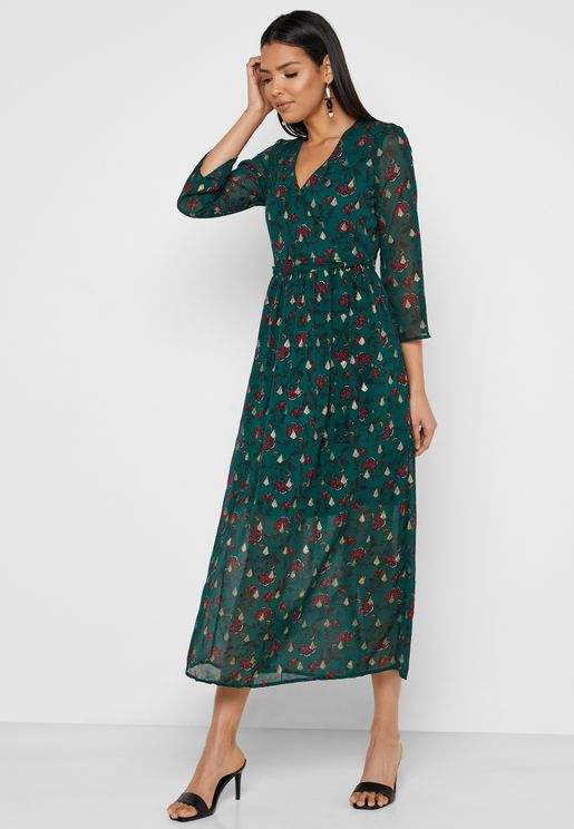 فستان لف مطبع باكمام شبكية