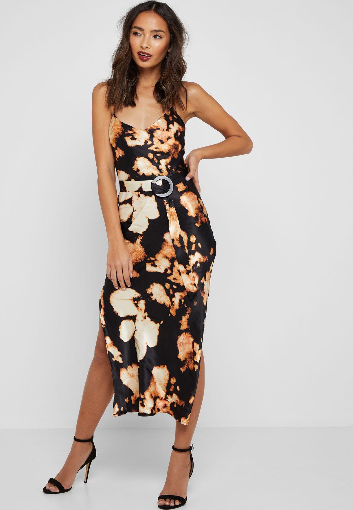 ebe601b0c9bbb Shop Topshop prints Tie Dye Belted Slip Dress 10W06QBLK for Women in ...