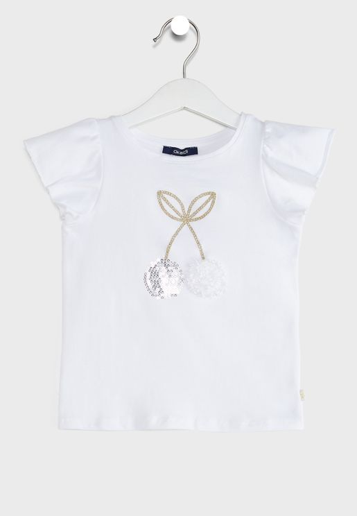 Kids Embroidered Cherry Top