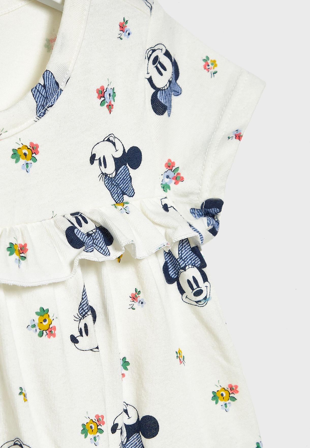 فستان بطبعات ازهار وميني ماوس