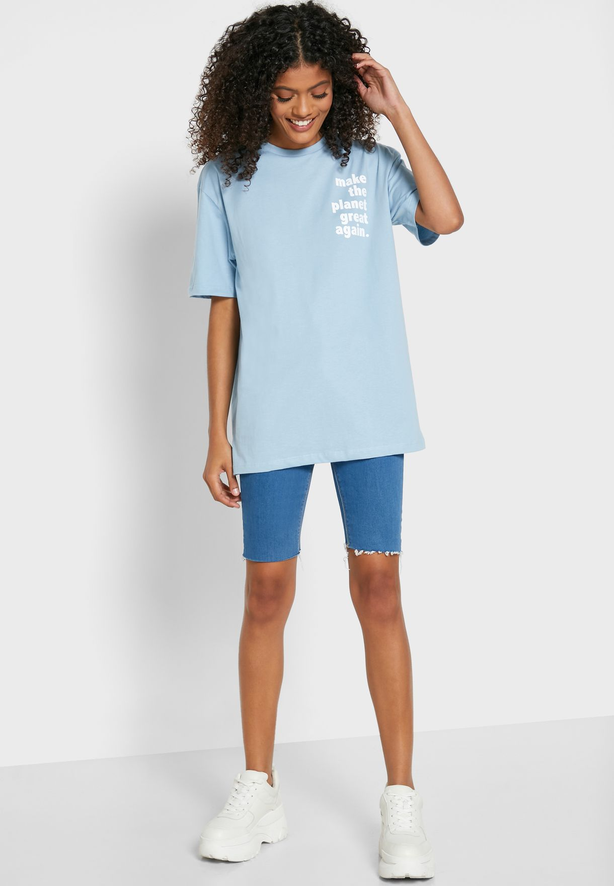Oversized Slogan Chest T-Shirt