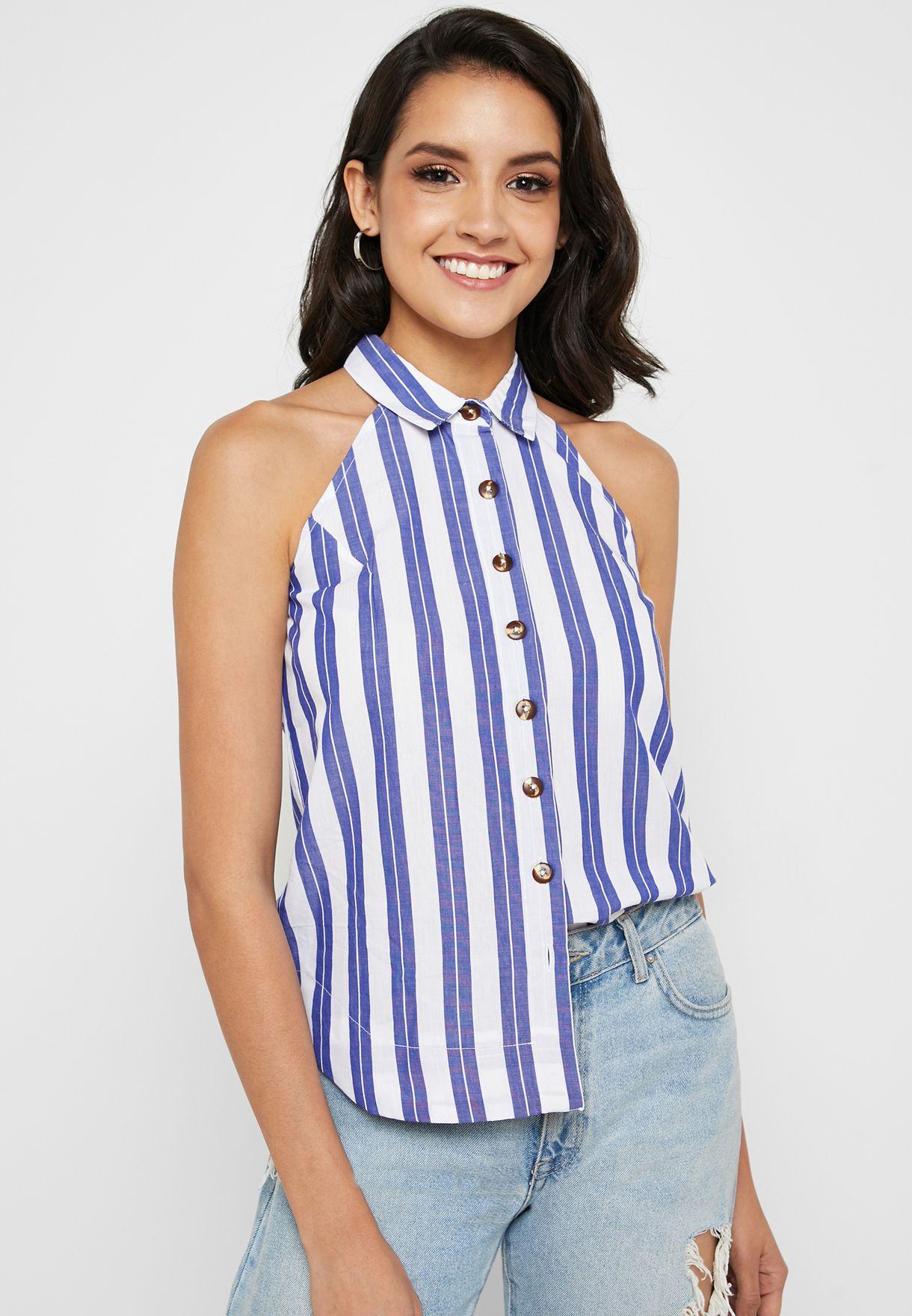 Striped Halter Neck Shirt