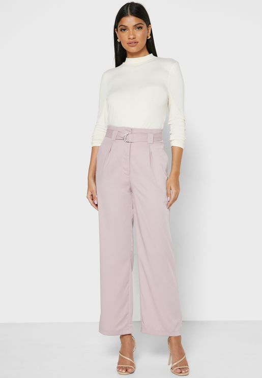 Belted Tailored Straight Pants