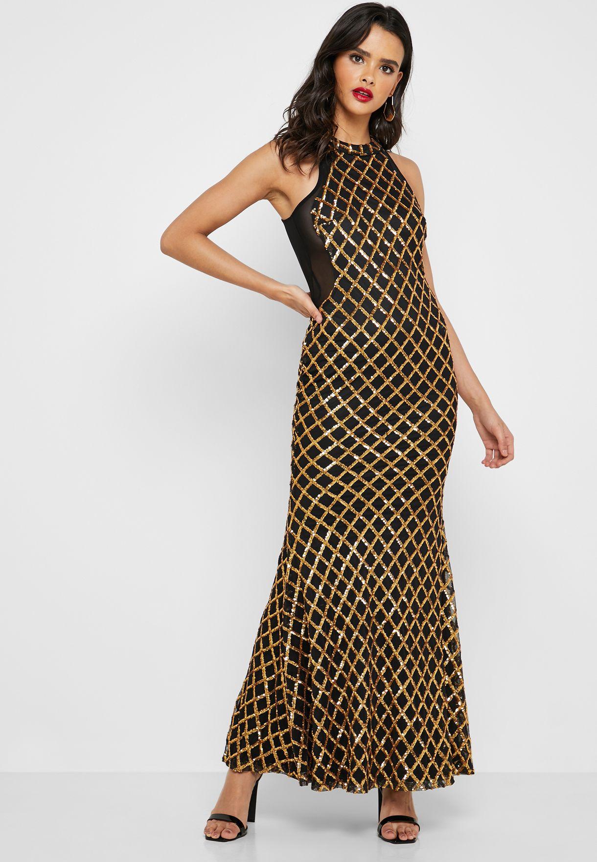 فستان مكسي مزين بترتر