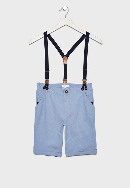 Kids Hem Folded Shorts With Suspender