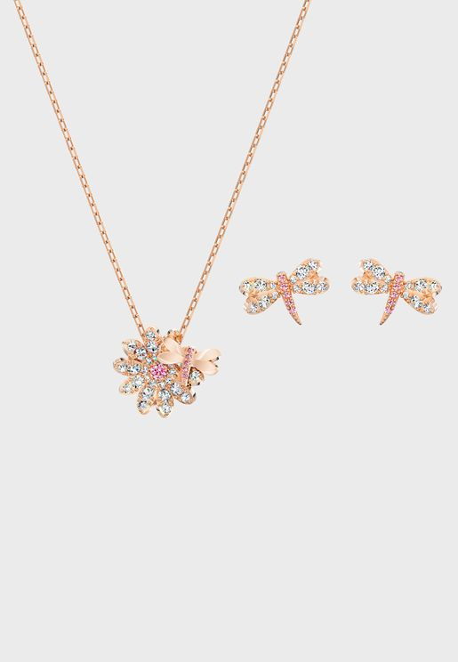 Eternal Flower Fly Necklace+Earrings Set