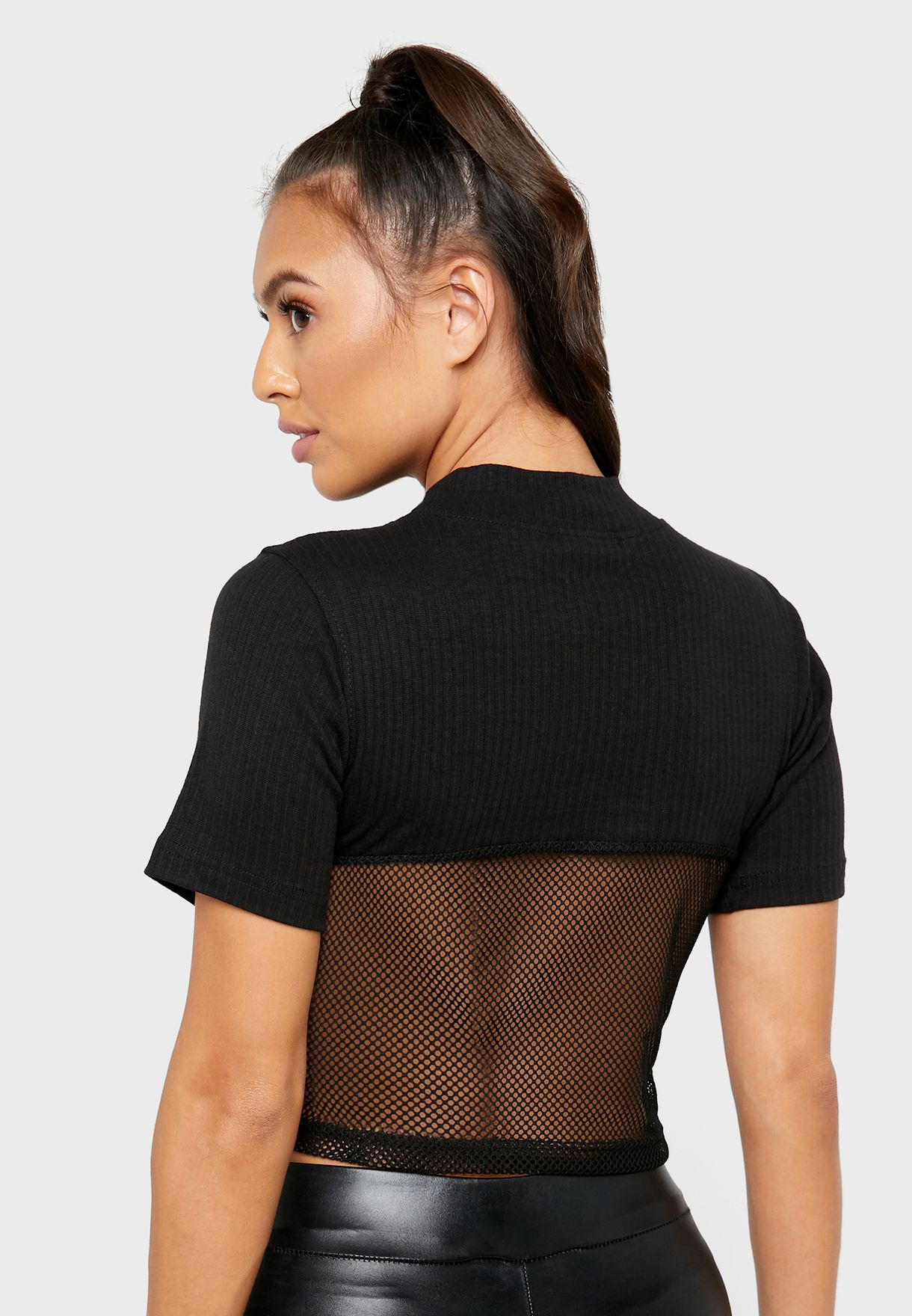 High Neck Mesh Cropped Top
