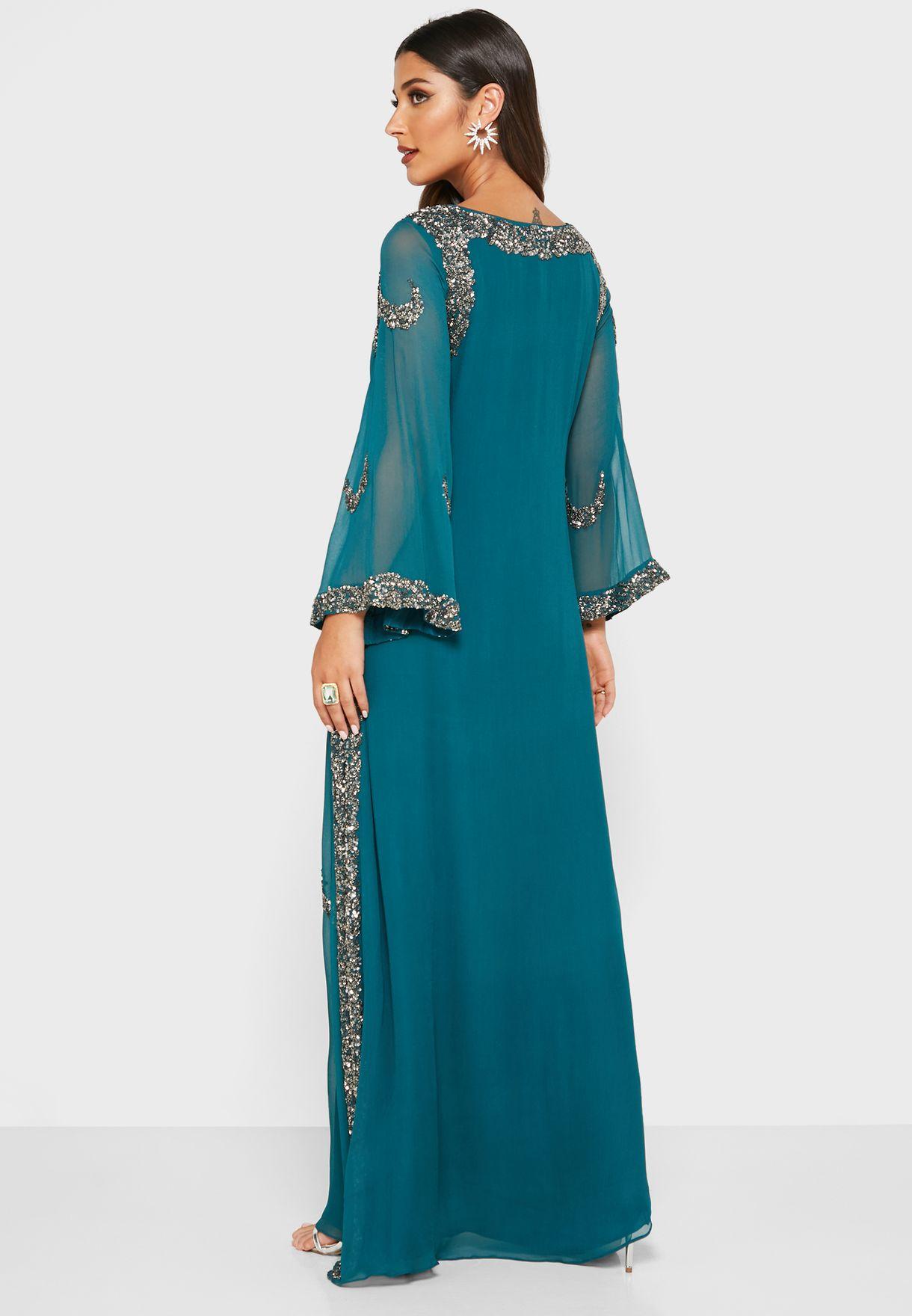 فستان بنمط قفطان مزين بترتر