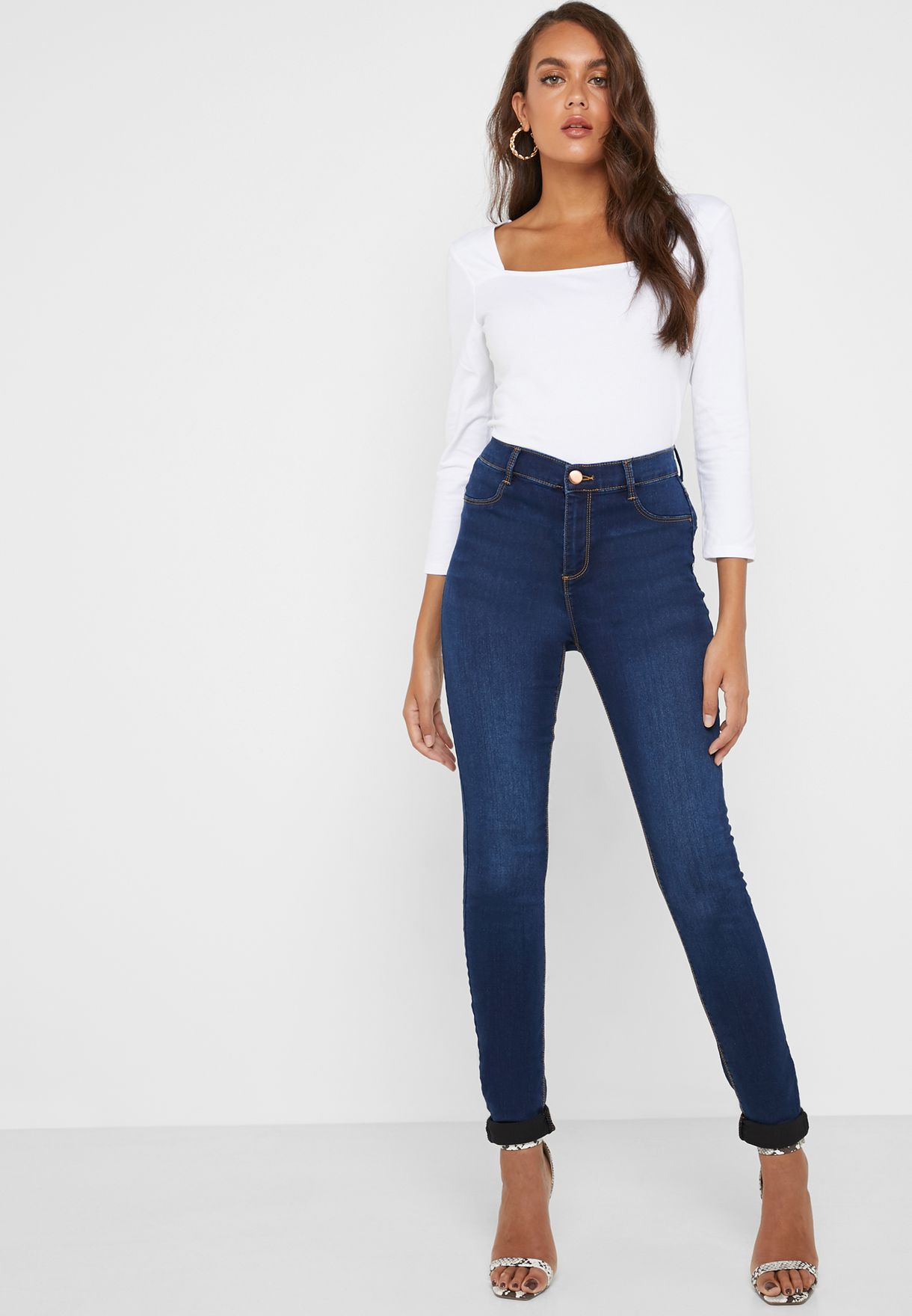 2bca3cef4 تسوق جينز سكيني وبخصر مرتفع ماركة دوروثي بيركنز تول لون أزرق 9040224 ...