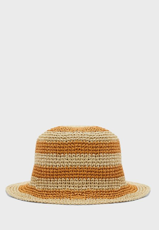 Straw Stripe Bucket Hat