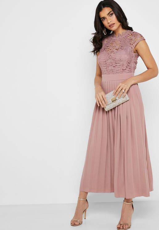 Crochet Top Pleated Skirt Dress