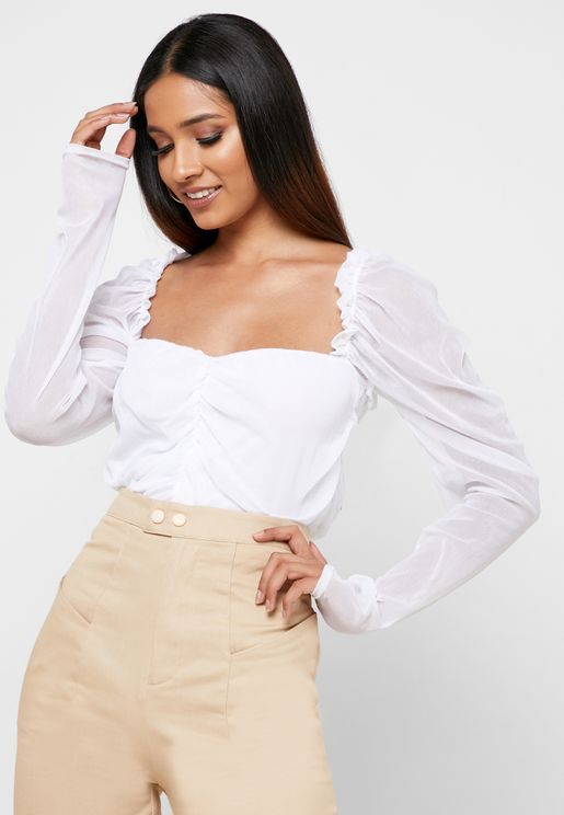 Mesh Ruched Puff Sleeve Top