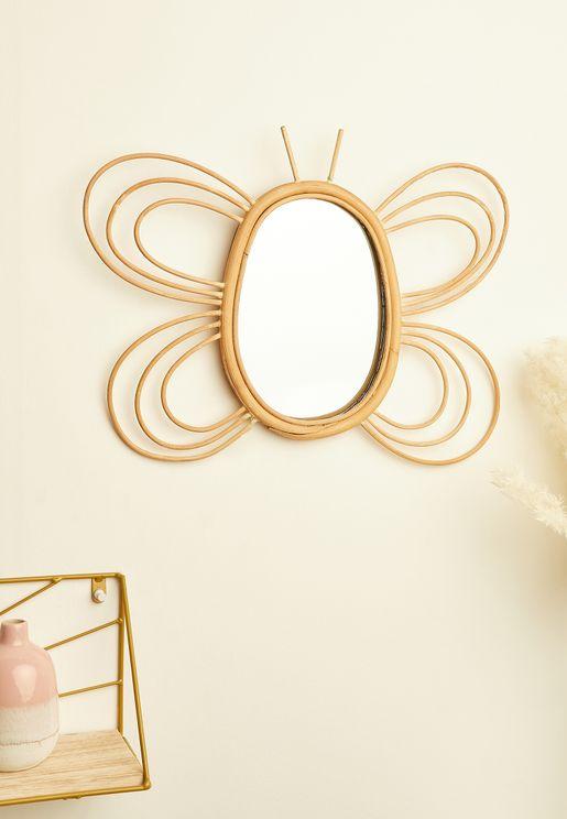 Rattan Butterfly Mirror