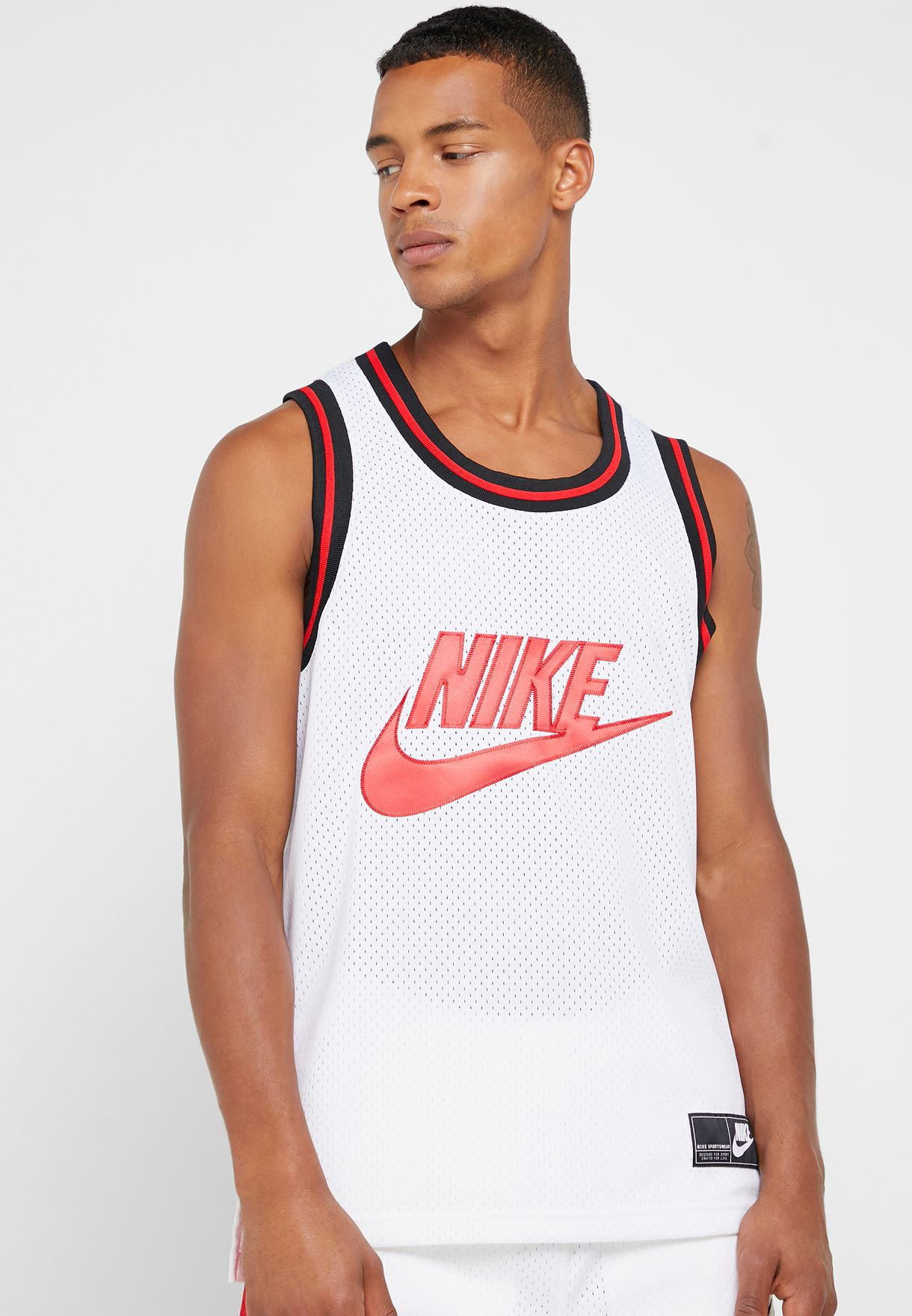 d12f2584 Shop Nike white Mesh Statement Tank AR9892-100 for Men in UAE ...