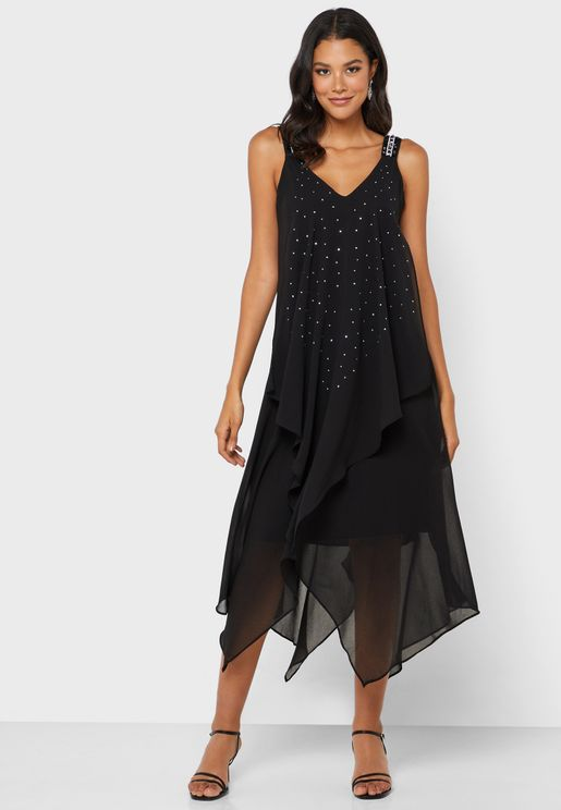 Asymmetric Plunge Dress