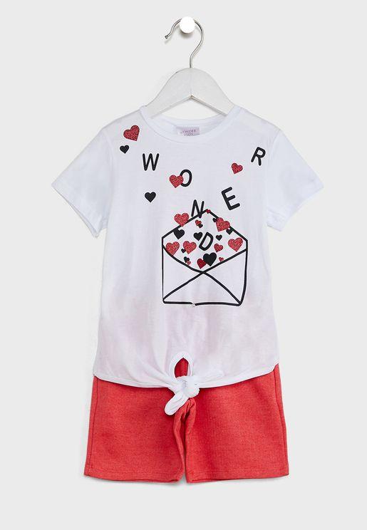 Kids Knotted T-Shirt & Shorts Set