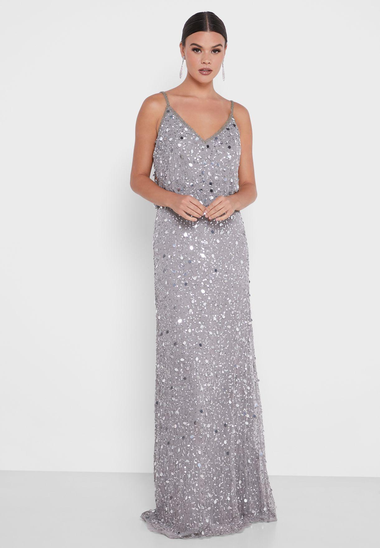 Layla V-Neck Sequin Dress