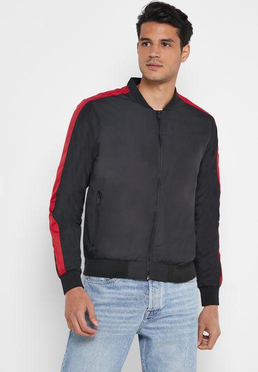 Arm Stripe Bomber Jacket