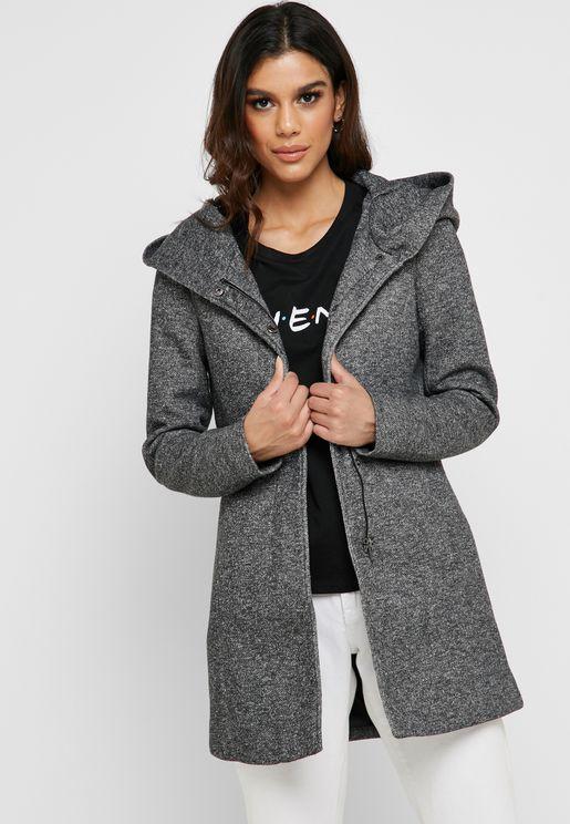 Textured Hooded Light Coat