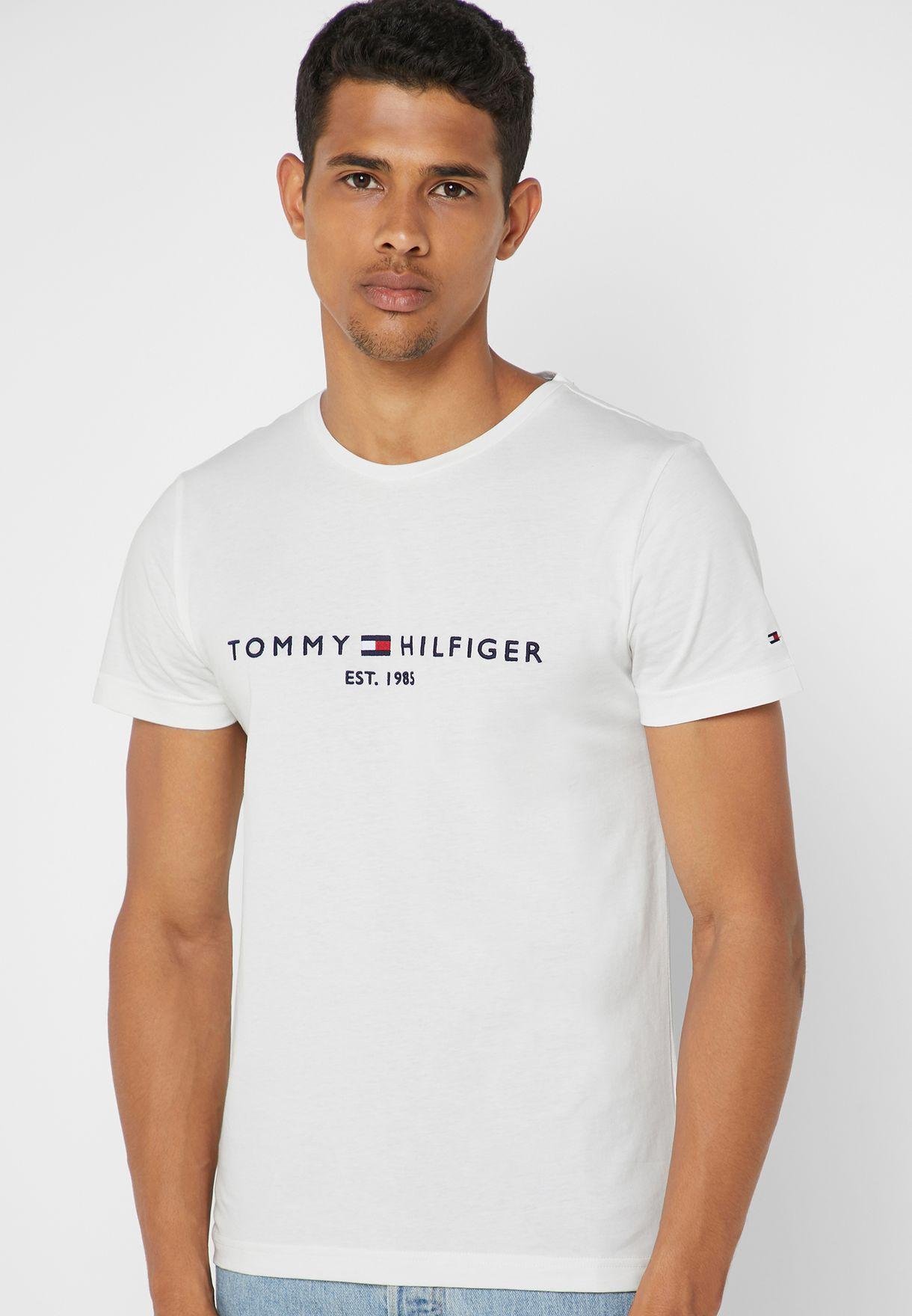bd82dca3b Shop Tommy Hilfiger white Logo Crew Neck T-Shirt MW0MW11465 for Men ...