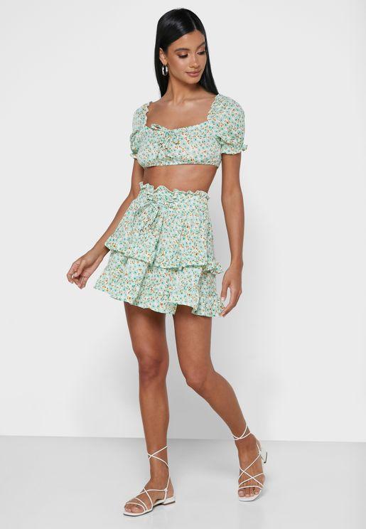Print Crop Top & Skirt Skit