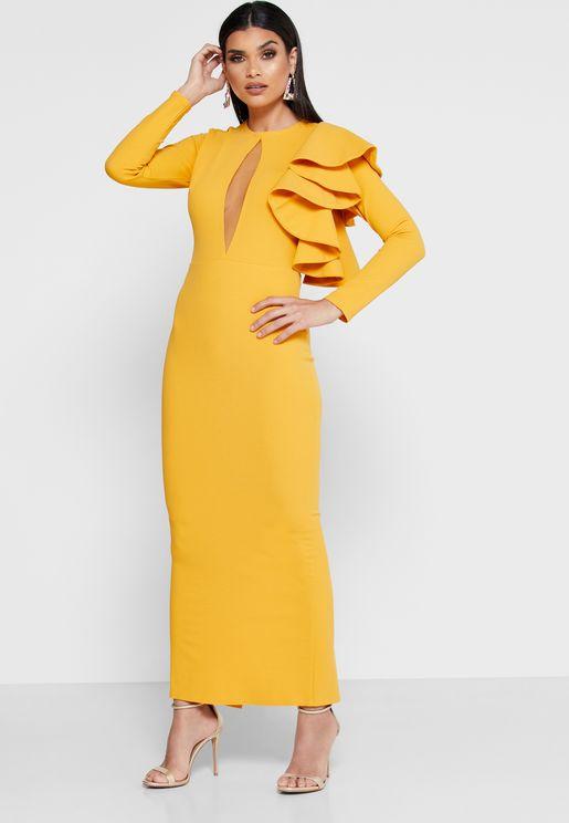 Ruffle Detail Keyhole Dress