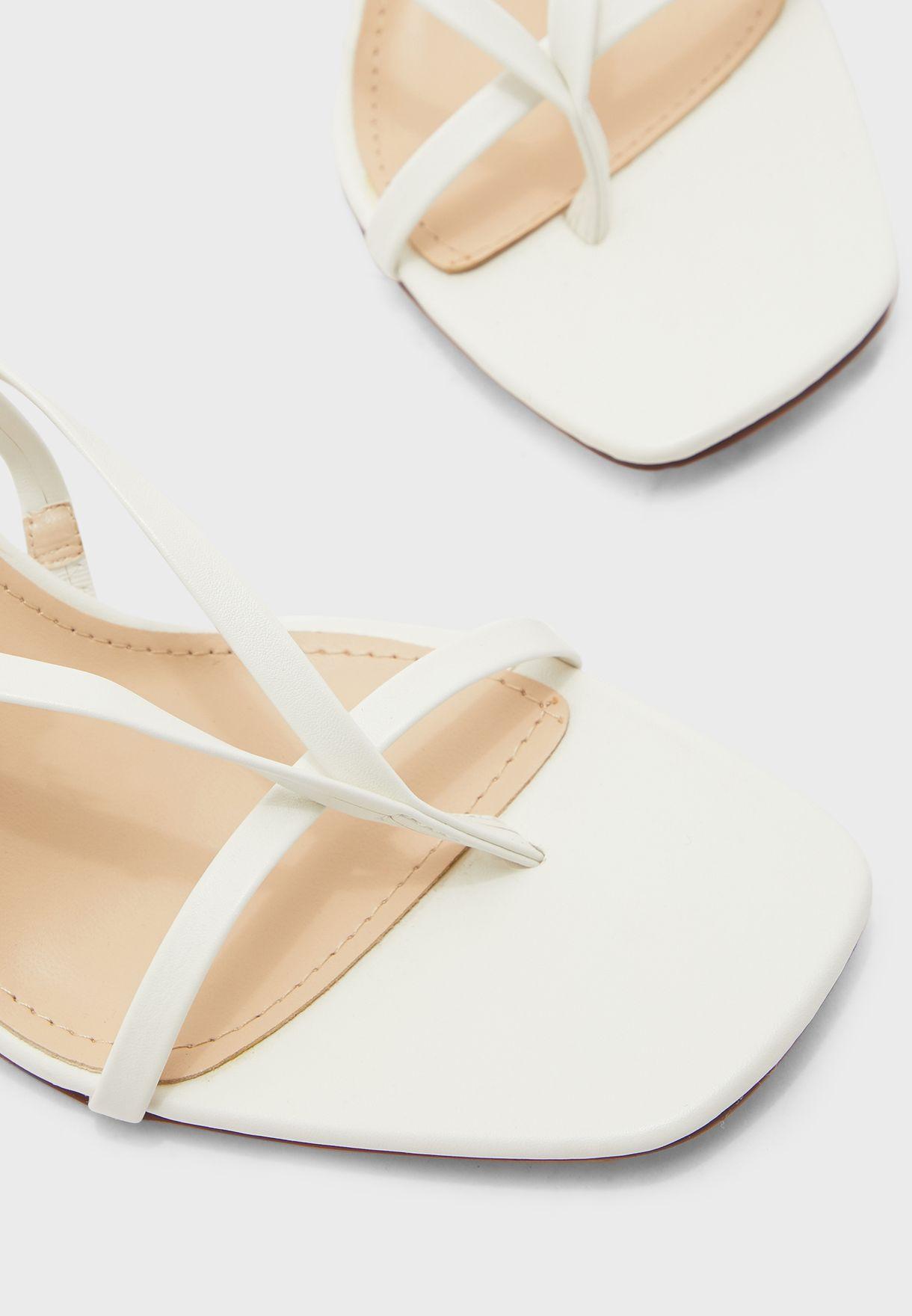 Square Toe Skinny Strap Feature Heel Sandal