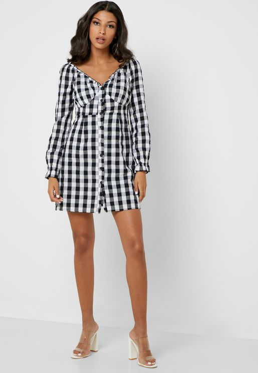 Gingham Bardot Dress