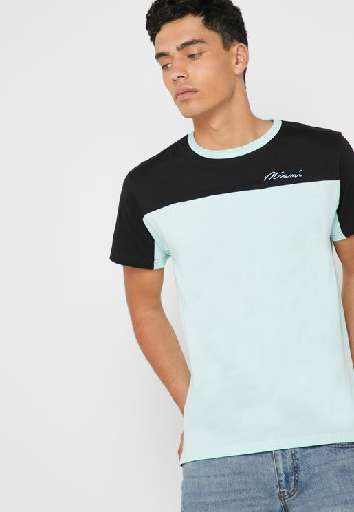 Monaho Color Block Crew Neck T-Shirt