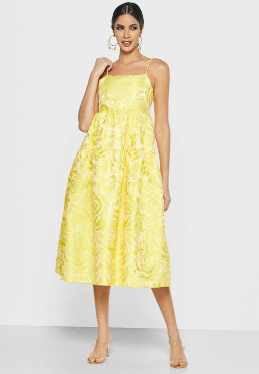 Cami Strap Jacquard Dress