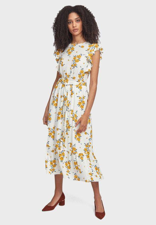 فستان بطبعة ورود وكشكش
