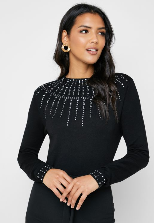 High Neck Stud Detail Sweater